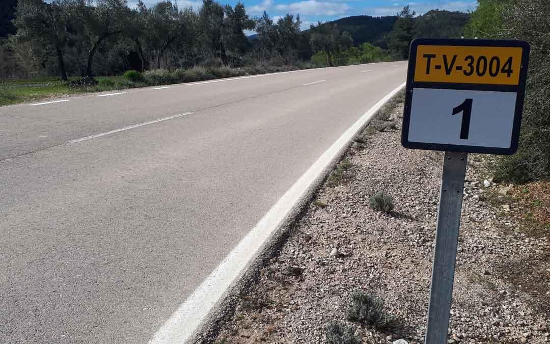 El kilómetro 1 de la carretera que lleva desde la A231 hacia La Portellada. Foto: J.V.