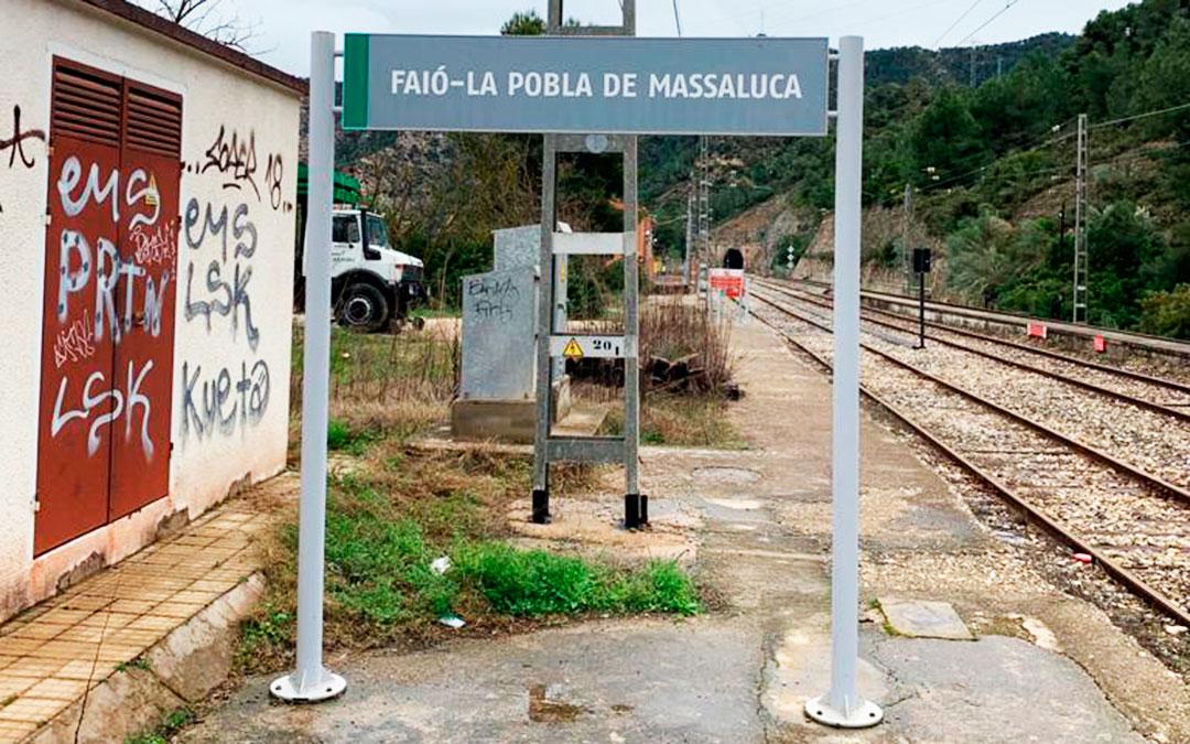 Imagen actual de la estación de Fayón-La Pobla de Massaluca.