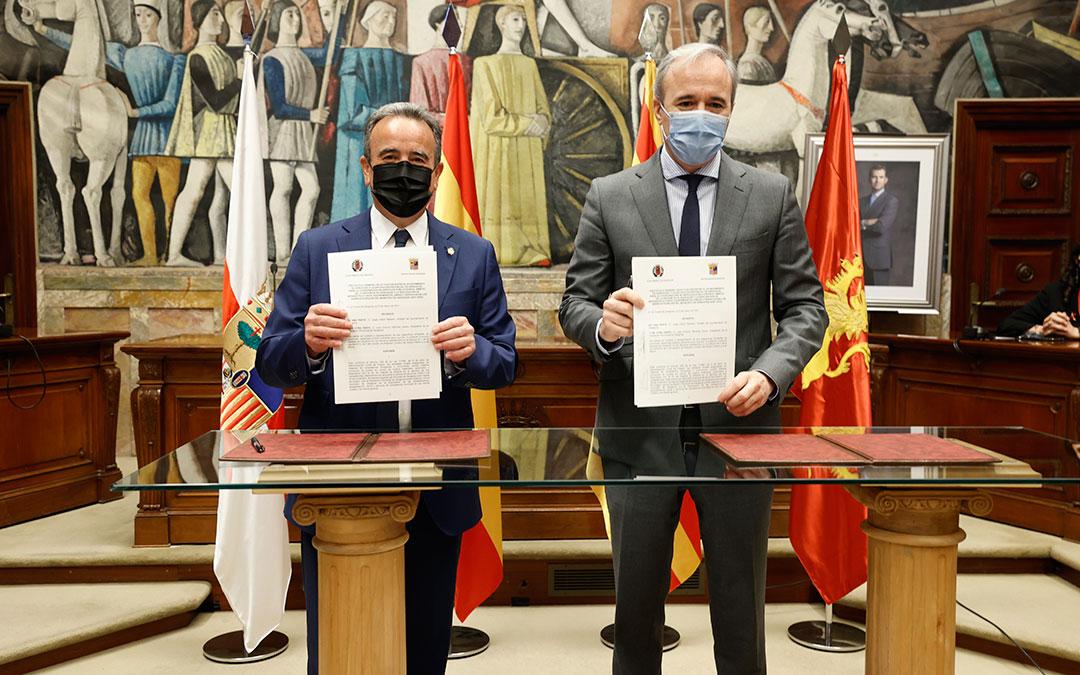 El protocolo general de actuación que han rubricado Sánchez Quero y Azcón es un paso previo a la formalización del acuerdo definitivo entre la DPZ y el Ayuntamiento.