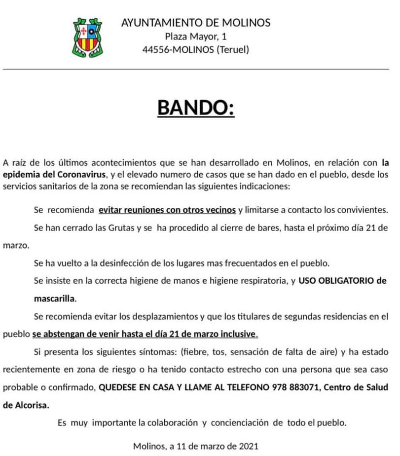 Bando del Ayuntamiento de Molinos.