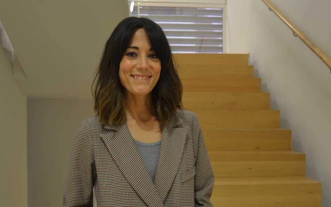 Paula Blesa minutos antes de la presentación del corto en Alcañiz / L. Castel