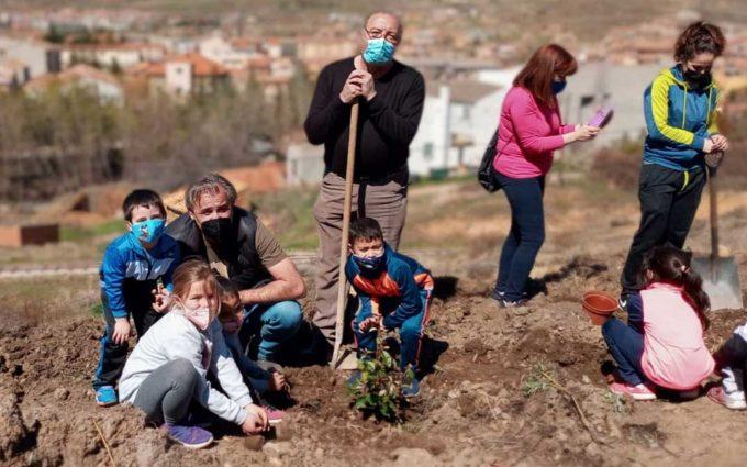 Los niños de Utrillas reforestan el monte con el Ayuntamiento