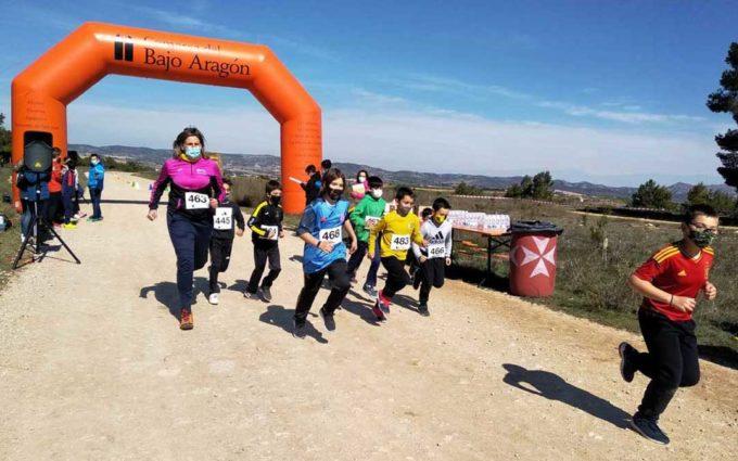 La primera carrera del reto solidario del Bajo Aragón convierte 771 kilómetros en kilos de comida
