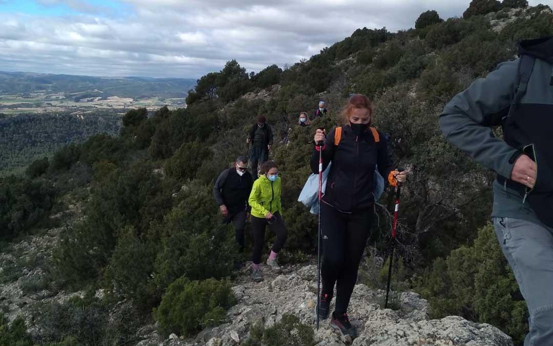 Senderistas que participaron en la salida organizada por la comarca del Bajo Aragón. Foto: A.M.