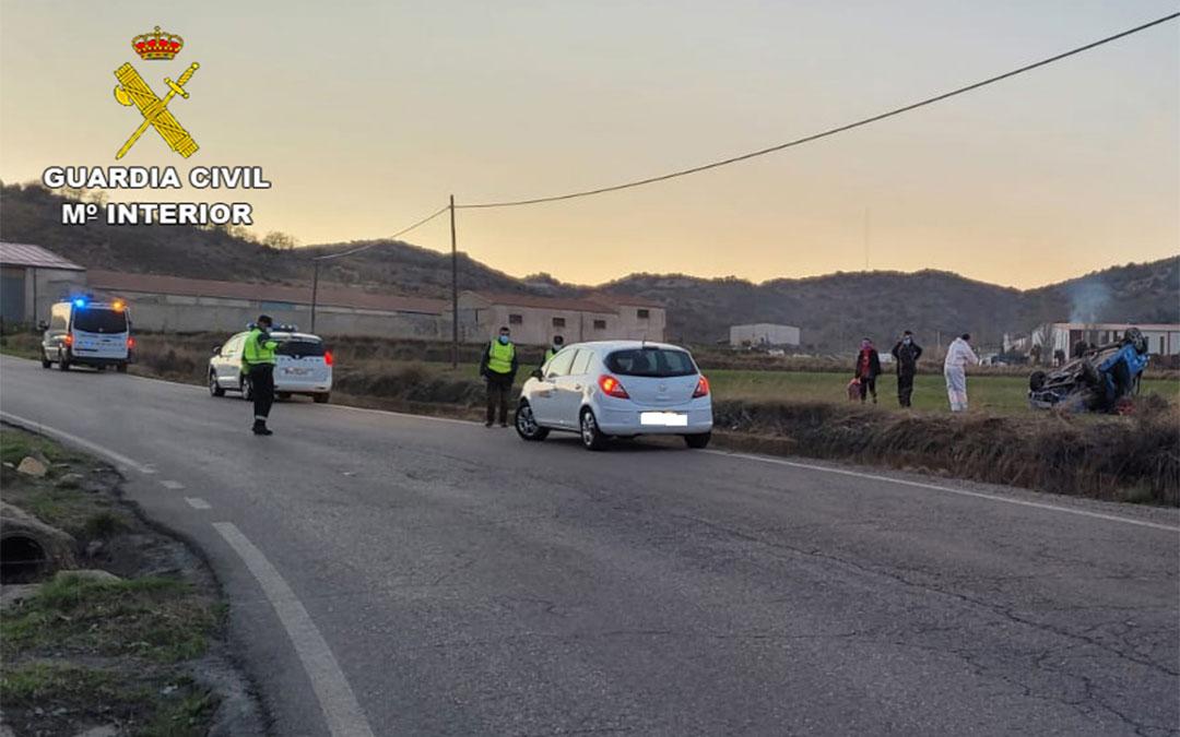 Accidente en la TE-02 entre Utrillas y Las Parras de Martín./ Guardia Civil de Teruel