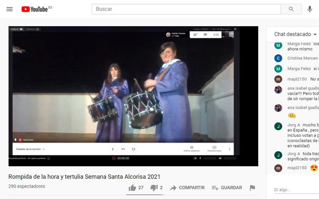 En Alcorisa el Ayuntamiento ha retransmitido por internet el Romper la Hora con vídeos de los vecinos y una tertulia sobre la Semana Santa / Youtube