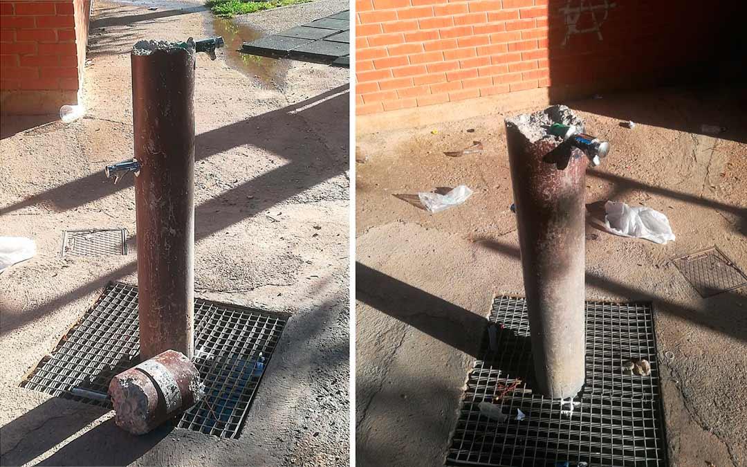 Fuente destrozada en Mas de las Matas en el parque del polideportivo./ L.C.