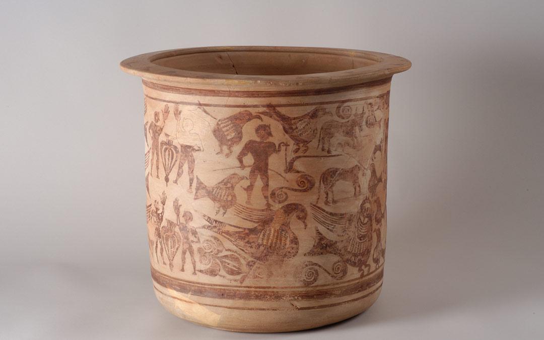 """La pieza de cerámica ibera """"Kalathos"""" de Alcorisa./DPT"""