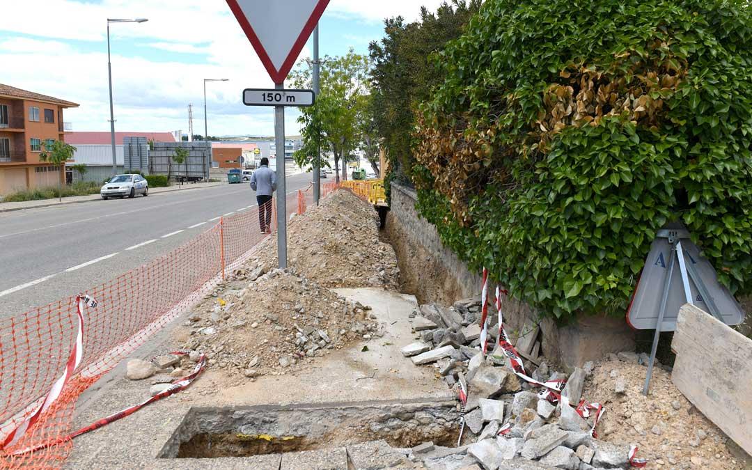 Obras en ejecución en la carretera Zaragoza / Ayto. Alcañiz