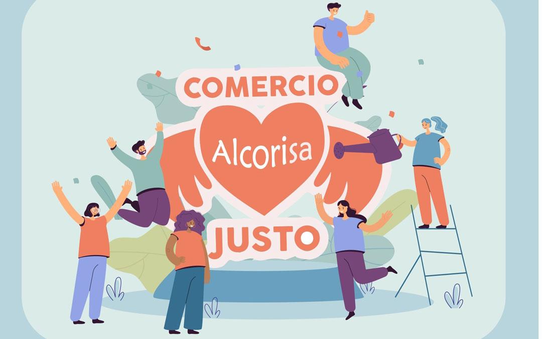 Cartel anunciador de la semana de comercio justo en Alcorisa. Foto: Ayto. Alcorisa