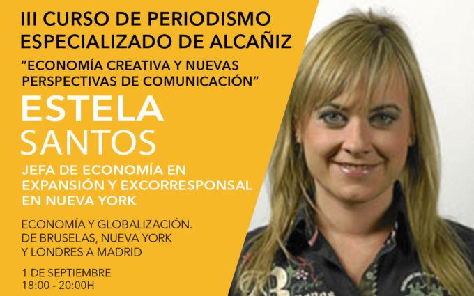 La jefa de economía de Expansión, Estela Santos, en el III curso de periodismo de Alcañiz