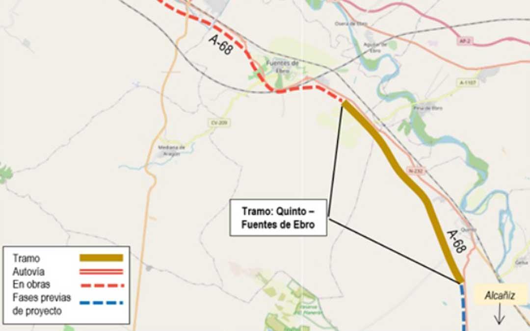El tramo Quinto-Fuentes de Ebro tendrá una longitud de 15 km / Mitma