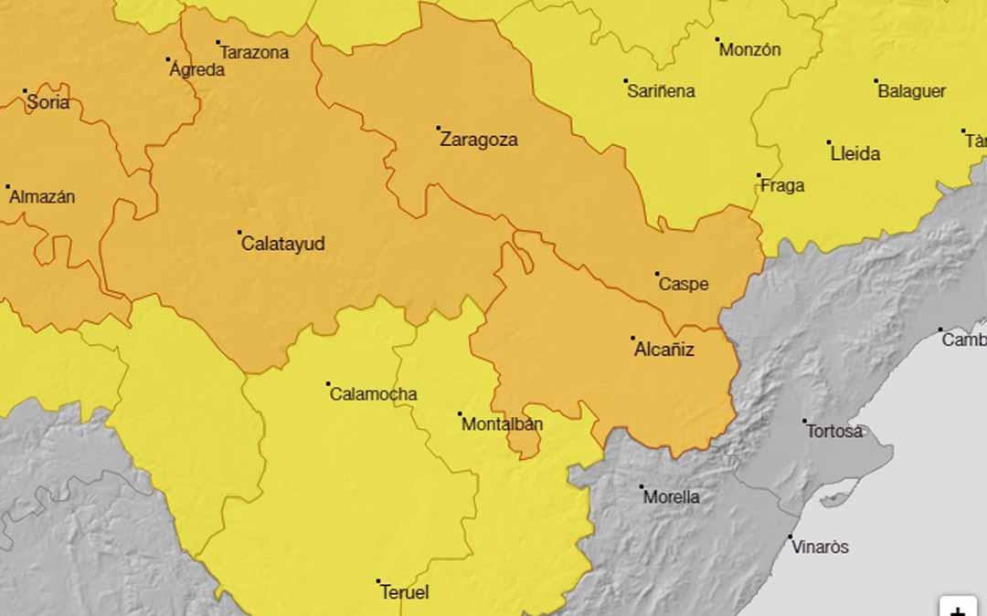 El aviso naranja se extiende en todo el Bajo Aragón y es amarillo en el Maestrazgo y Cuencas Mineras. AEMET