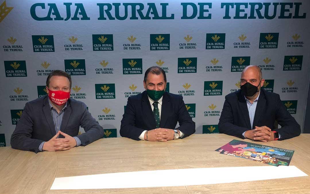 Los representantes de las tres instituciones que han firmado el convenio. Foto. Caja Rural de Teruel