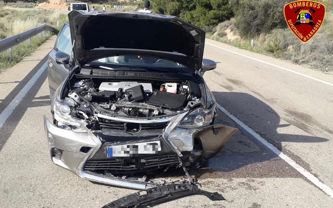 Estado de uno de los vehículos siniestrados. / Diputación de Zaragoza