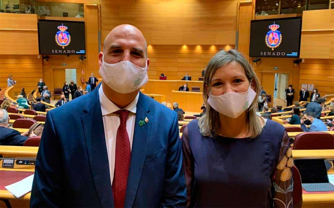 Los senadores de Teruel Existe, Beatriz Martín y Joaquín Egea./ T.E.