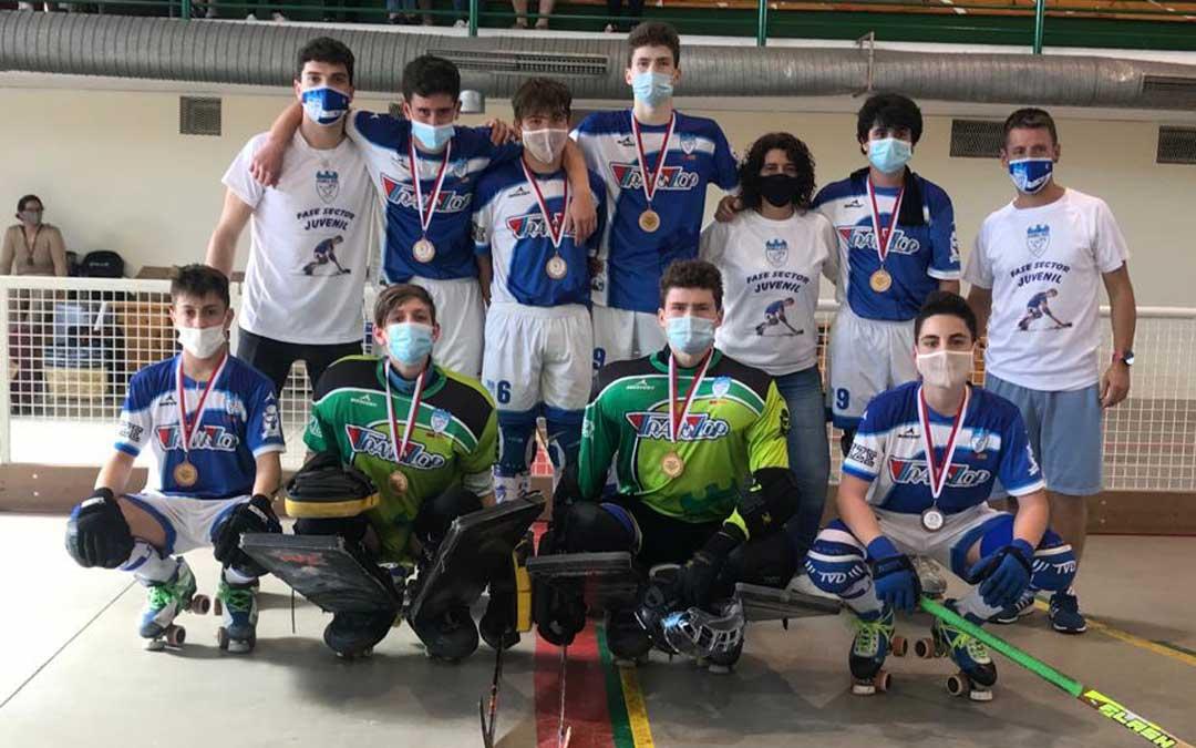 El equipo juvenil del Translop Alcañiz Club Patín. Foto. Alcañiz C.P.