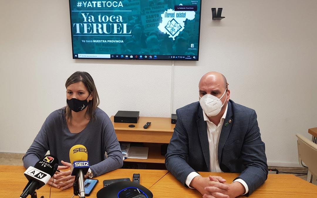 Los senadores Beatriz Martín y Joaquín Egea durante la rueda de prensa de este jueves./Teruel Existe