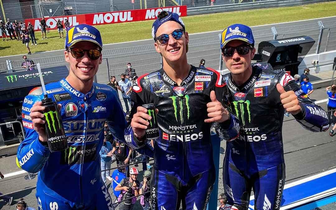 Imagen del podio de Assen. Mir, Quartararo y Viñales respectivamente. / Fuente: MotoGP
