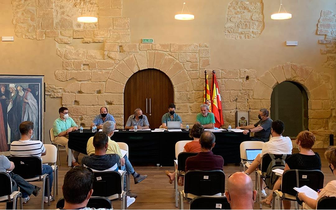 Los participantes en el pleno, con Poblador y Llop a la izquierda de la imagen / Pilar Sariñena