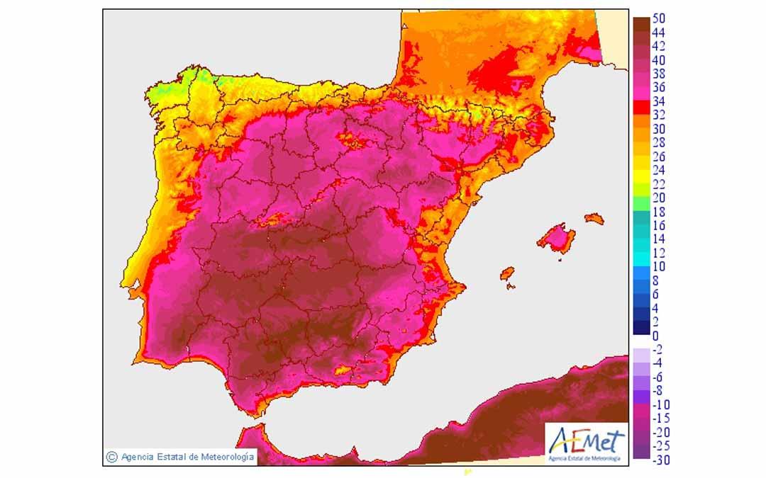 Mapa de temperaturas máximas en la península Ibérica previsto por Aemet. AEMET.