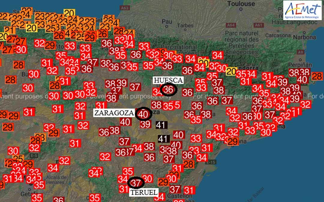 El récord de Aragón este viernes se ha registrado en Quinto con 41.0 ºC / Aemet