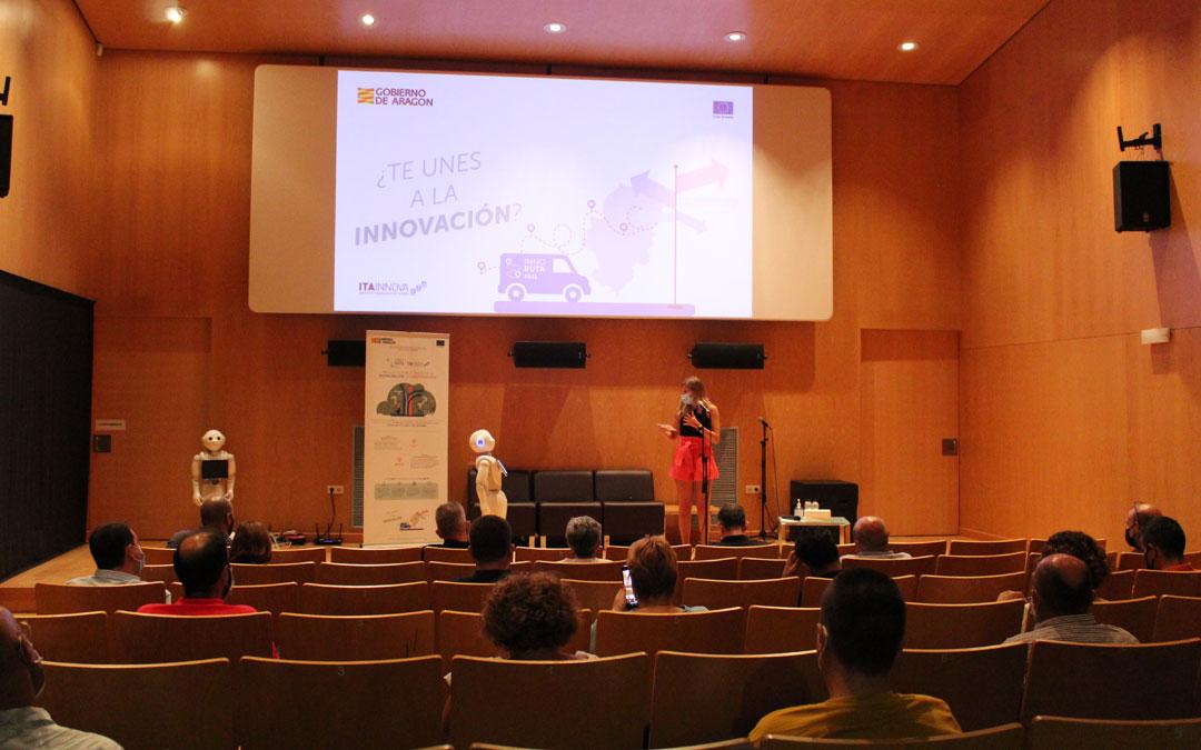 La directora de ITAINNOVA, Esther Borao, y el robot con el que comparte escenario en las sesiones de la Innoruta. / B. Severino