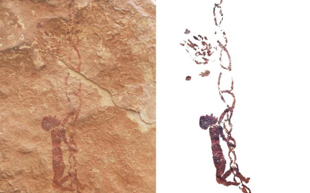 La pintura muestra a un recolector que trepa por una escala de cuerdas en busca de la miel de una colmena./M. Bea, I. Domingo y J. Angás. HERALDO