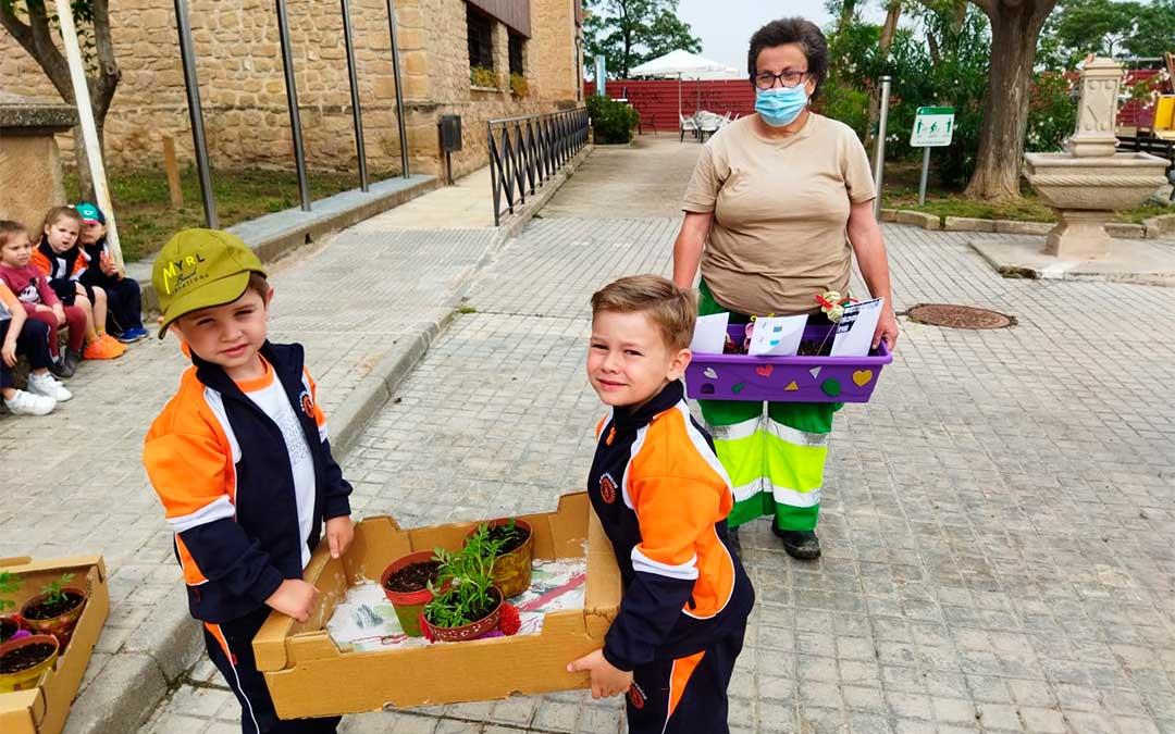 Algunas de las plantas que sembraron los alumnos de Escolapios siguiendo los pasos de profesionales de Atadi./ Colegio San Valero