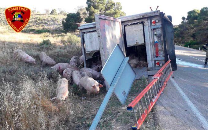 Un camionero resulta herido leve tras salirse de la vía en la A-230 a la altura de Caspe