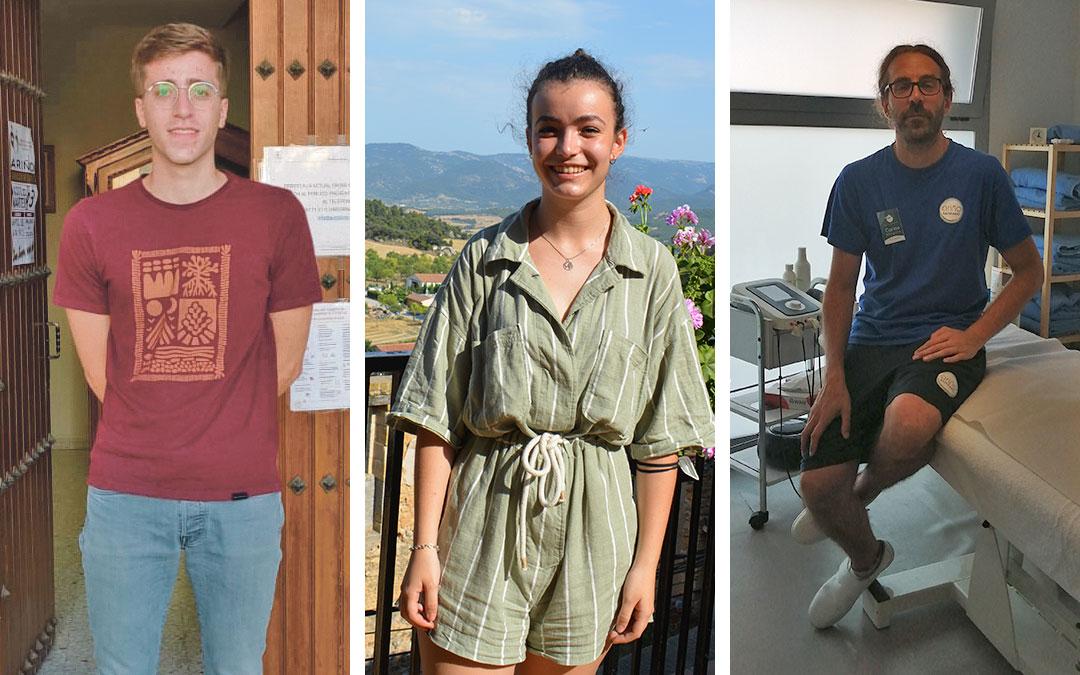 Los jóvenes Rodrigo Ube, Marta Monera y Carlos Marquina, participantes en el Erasmus Rural de la Diputación de Teruel, trabajan en Ariño y Monroyo / La Comarca