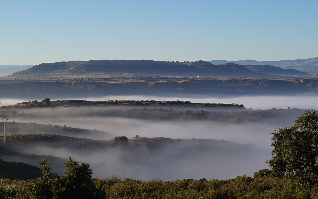 Niebla vespertina desde el Mirador del Carnicero en Alloza