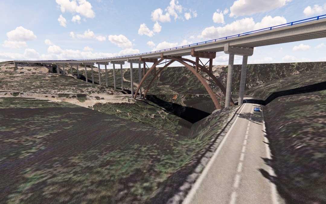 Recreación del viaducto, que tendrá una longitud de 432 metros y la altura superará en algunos puntos los 60 metros, tres veces más que el puente de la Bota / Mitma