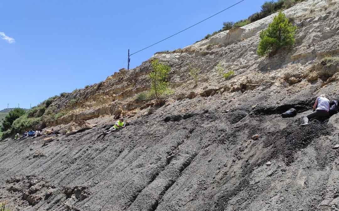 Paleontologos trabajando en el yacimiento de San Just. Foto. Fundación Dinópolis