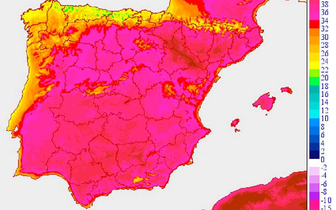 Mapa de temperaturas máximas previstas para la jornada del jueves. AEMET.
