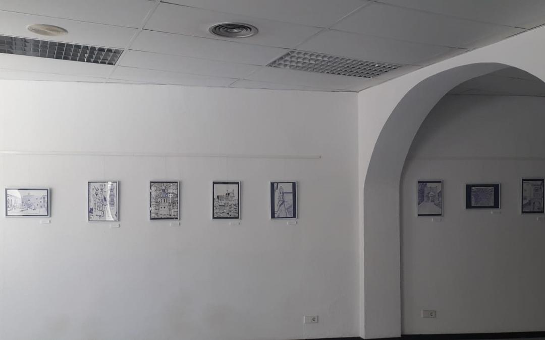 Detalle de la exposición de 'Rincones de Albalate a boli Bic' de Inmaculada Félez. / Ayto. Albalate