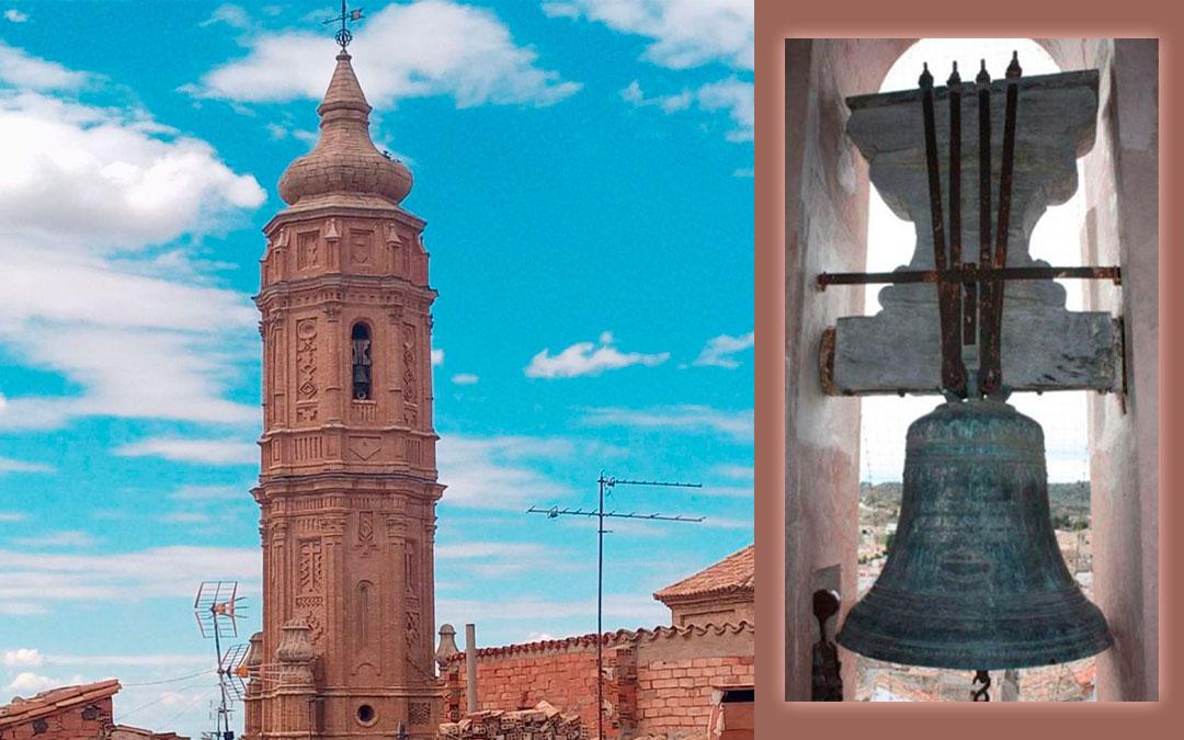 Campanario de Valdealgorfa con la Santa María Magdalena./ Montaje propio a partir de imágenes de José María Sancho y Marc Pardo
