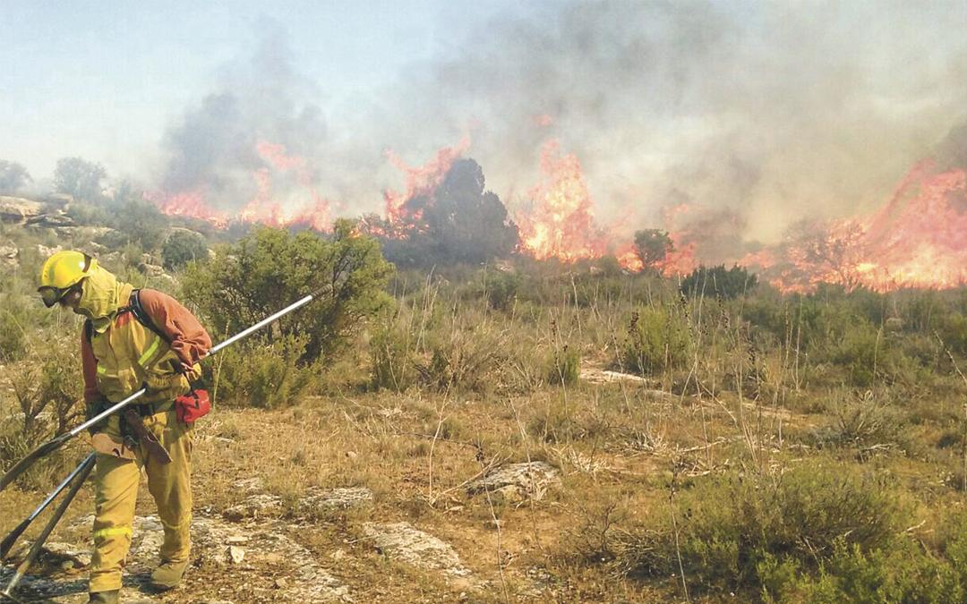 Un efectivo de una cuadrilla, realizando labores de extinción de un incendio forestal. / L.C.