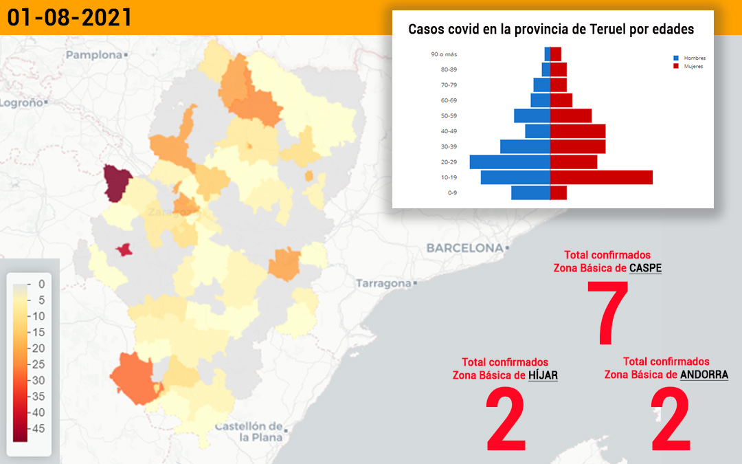 La zona básica de Caspe notifica 7 contagios, Híjar 2 y Andorra otros 2./ L.C.