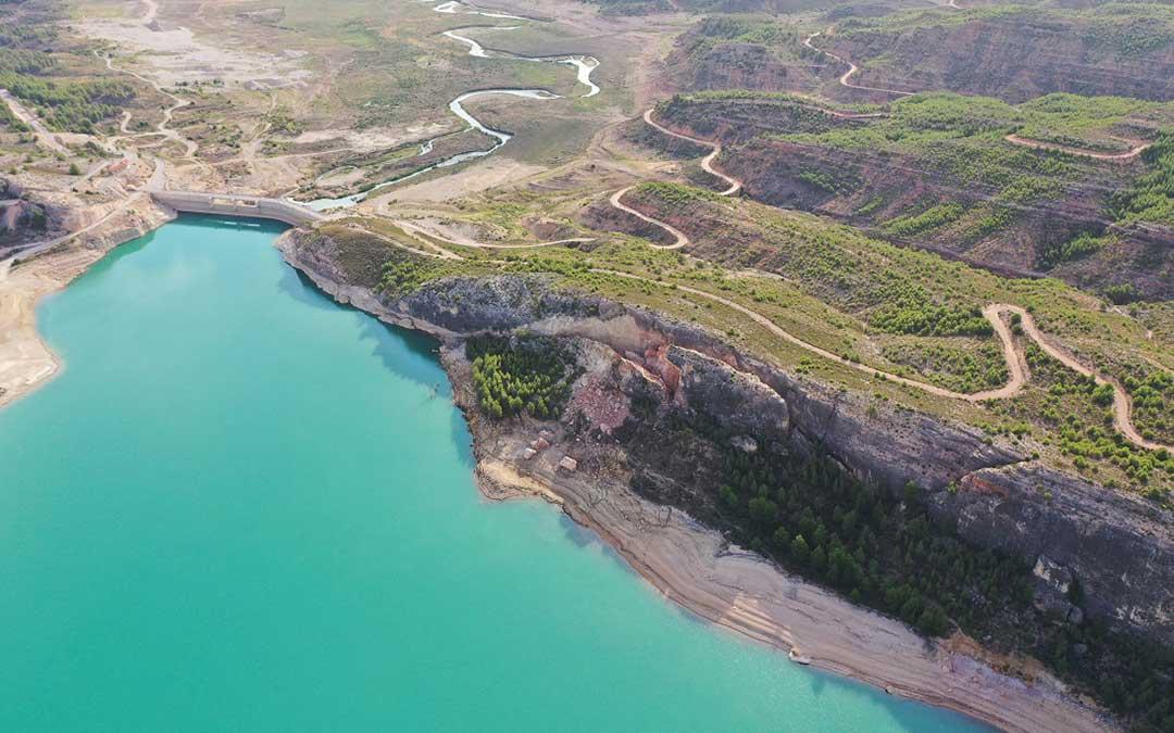 Zona afectada por el desprendimiento de tierra.(Confederación Hidrográfica del Ebro