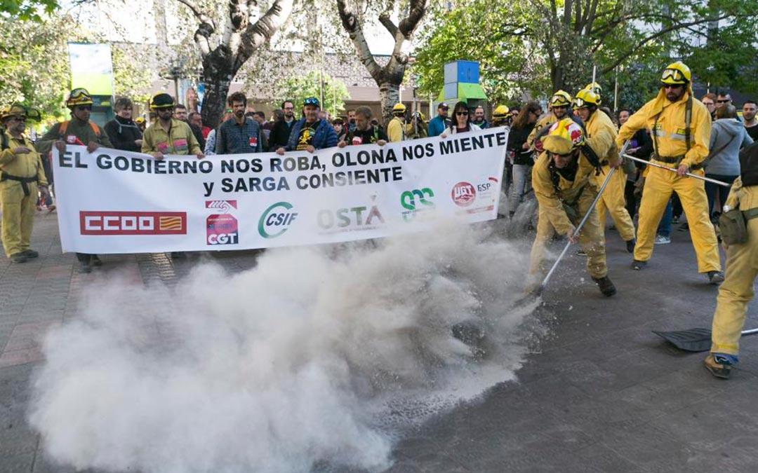 Protesta de los trabajadores de Sarga en 2019./ Aránzazu Navarro - HERALDO