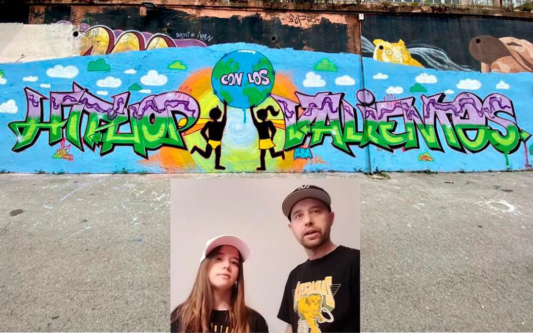 Alba y Ricardo Lázaro, padre e hija, representan a Urrea y Zaragoza en el proyecto. El logotipo diseñado por la urreana, epicentro de una de las pinturas murales hechas para la ocasión.