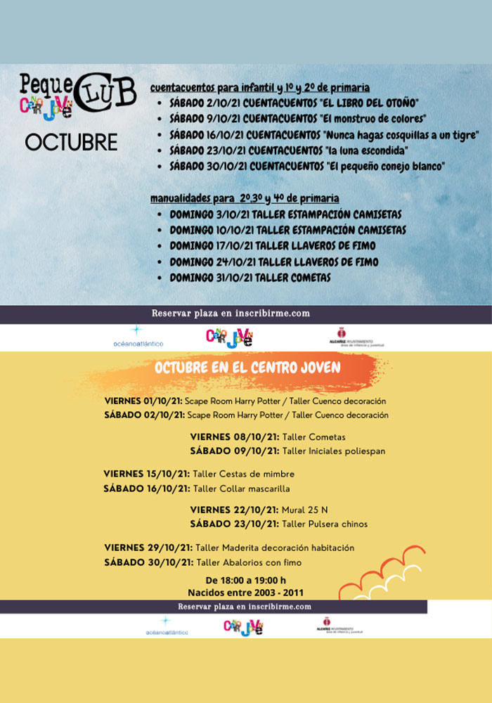 Actividades de octubre en el Centro Joven 'El Mercado' de Alcañiz