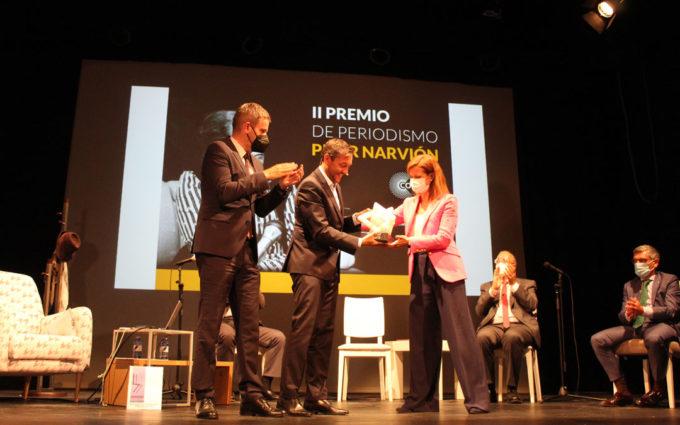 El periodista Javier Ruiz recoge el galardón Pilar Narvión en Alcañiz