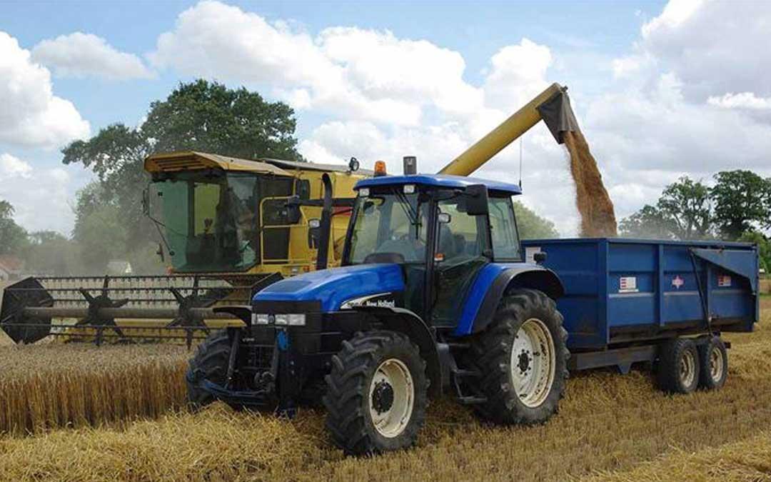 Tractor, remolque y cosechadora en plena labor. Foto. L.C.