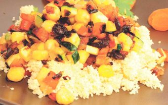 Cous-cous de naranja con verduras