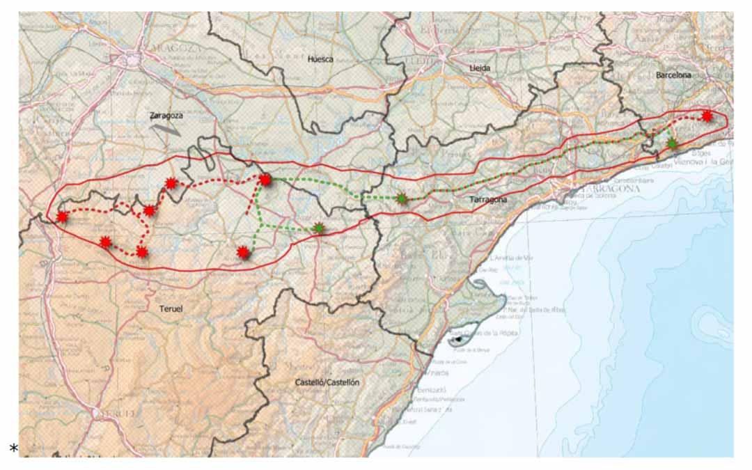 Esquema línea de alta tensión del Clúster Begues./Fuente Forestalia (Teruel Existe)