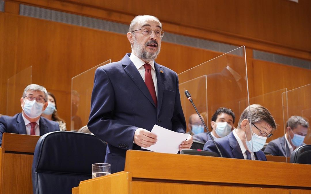 Javier Lambán en la sesión plenaria de las Cortes de Aragón./Cortes de Aragón