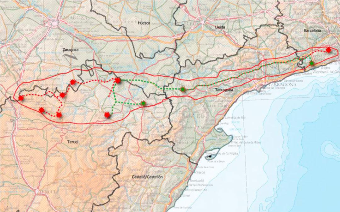 Trazado de la línea de alta tensión./Teruel Existe