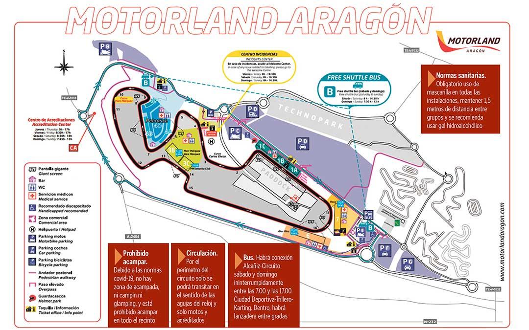 Mapa del circuito de velocidad de Motorland Aragón.